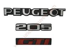 LOGO PEUGEOT 205 GTI MONOGRAMME ROUGE ET GRIS KIT DE 3
