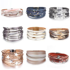 Women Alloy Tube Crystal Stars Multi-layer Leather Bangle Wrap Bracelets Jewelry