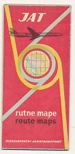 1961 JAT YUGOSLAV AIRLINES - Rout Maps vintage original