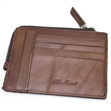Men's Leather Wallet Slim Credit Card Holders Zipper Coin Purse For Women