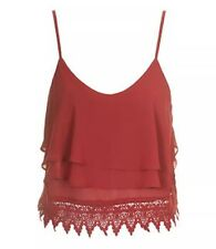 Glamorous Size 14 Red Lace Crop Top Bralet Petite Women Ladies Party