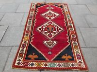 Old Hand Made Traditional Persian Rugs Oriental Rug Wool Red Rug 224x124cm