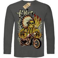 Indian rider T-Shirt biker motorcycle skull chief Mens Long Sleeve