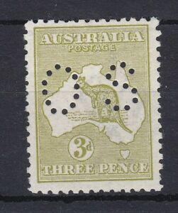 K1229) Australia 1913 3d Olive Kangaroo first watermark die I punctured small