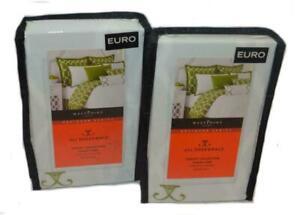 2 Jill Rosenwald Copley Collection Green Chain Link Euro Shams Set Reversible