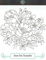 Vintage Visage iron on embroidery transfer- flowers floral bouquet 2 sheets