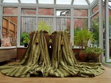 "HUGE  MOIRE SILK GREEN  INTERLINED CURTAINS 90"" DROP BY 74"" WIDTH  PAIR 1"