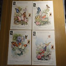 ANDORRA BUTTERFLIES N°258/259 4 CARDS GRAND FORMAT PREMIER DAY FDC