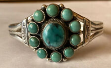 Signed Navajo Sterling Silver Turquoise Cuff Bracelet