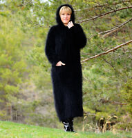 MOHAIR & ANGORA Hand Knitted Hooded Dress Black Robe Sweater NEW SALE ❤️