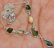 'Solid 925'' Sterling Silver Ethiopian Opal Rough & Moldavite Necklace SN18218