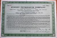 'Sydney Petroleum Company' 1944 Oil Stock Certificate - Massachusetts MA