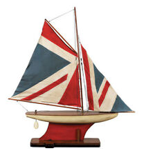 "British Navy Union Jack Flag Pond Yacht 31"" Wooden Model Ship Assembled"