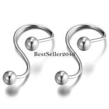 2pcs Fashion Silver Stainless Steel Infinity Love Earrings for Men Women
