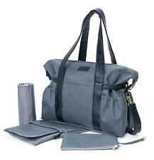 Allis Baby Changing Bag Weekend Diaper Tote Nappy Bag 6PCs - Grey