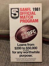 RARE 1981 SANFL VFL AFL FIXTURE BFC FINANCE - MINT CONDITION
