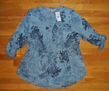 NWT Womens VINTAGE AMERICA Blue Tunic Embroidered Roll Sleeve Shirt Blouse 2XL