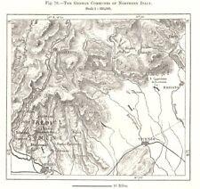 North Italy German Communes. Tredici Comuni. Cimbrian language. Sketch map 1885