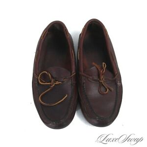 #1 MENSWEAR Gokey Made in USA Brown Waxy Leather Unlined Deck Moccasins 11.5 NR