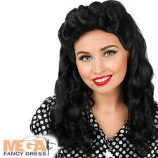 Black Vintage WW2 1940s Long Curls Wig Ladies Fancy Dress Womens Costume Wig New
