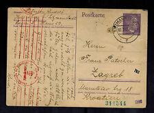 1943 Germany Litzmannstadt Ghetto postcard Cover To Zagreb Yugoslavia R PAtscher