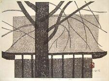 "Rare KIYOSHI SAITO Signed 1962 Original Woodblock Print - ""Castle"""