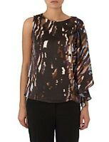 Pied A Terre House of Fraser RRP £65 Brown Blue Frill Sleeve Top Shirt Fast Ship