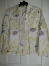 ERIN WOMAN'S 1X LONG SLEEVES JACKET MINT GREEN FLORAL PLUS SIZE SHORT COAT