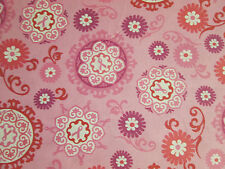 BREAST CANCER RIBBONS FLOWERS RELAY FOR LIFE COTTON FABRIC FQ