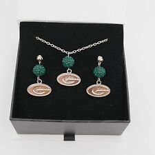 Green Bay Packers Jewelry Shamballa Bead Crystal Necklace and Earrings Set