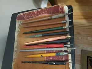 Vintage Dip Fountain Pens - Estate Lot of 10 Wood & Plastic Handles - Mid 1900's