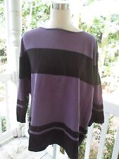 Josephine Chaus SWEATER/TOP in black & violet, Sz 3, 73% silk 27% nylon, A++!!