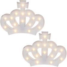 2x Weiße Kunststoff-Krone mit 15 warmweißen LED Lamp Lampe Leuchte ca 29 x 22 cm