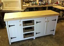 Long Rustic Solid Pine Freestanding Kitchen Unit Cupboards And Trays Shabby Chic