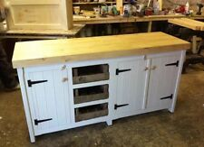 Long Rustic Wooden Solid Pine Freestanding Kitchen Unit Cupboards Tray Drawers