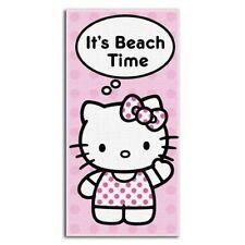 "Hello Kitty Beach Towel ""Beach Time"" Pink Cotton"