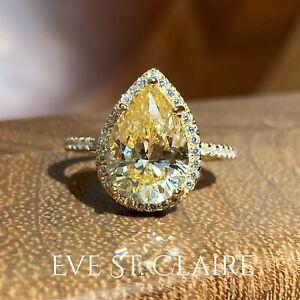 14k yellow gold ring 4 CT diamond pear halo engagement wedding bridal canary