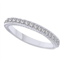 0.21Ct Round Diamond Wedding Band Ring 14K White Gold Milgrain Anniversary