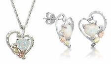 Landstrom's Black Hills Gold & Silver Lab Opal Heart Jewelry Set Stud Earrings