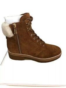 NIB $199 Michael Kors Rosario Amber Shearling Suede Hiking Boots Sz 6.5M