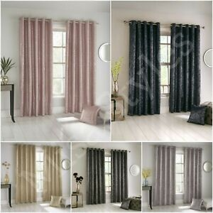 GLITTER SHIMMER EYELET RING TOP THERMAL BLOCKOUT CURTAINS METALLIC SPARKLE BLING