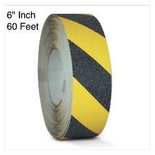 "Black/Yellow Safety Tape 6"" x 60' Roll Anti Slip Sticker Grip Grit Safe Non Skid"