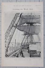 1901 PRINT REEFING TOPSAILS ON BOARD THE LION SEAMEN SAILORS NAVY