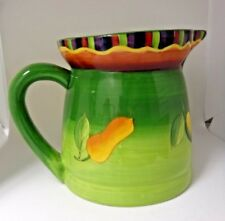 LAURIE GATES Los Angeles Pottery PITCHER UTENSIL HOLDER Mexican Peppers 7""