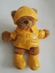 Plushland Bear In Raincoat 6 In Pre-owned Excellent Condition