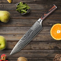 Damascus pattern chef knife 8 inch quality kitchen slicing knife wooden handle