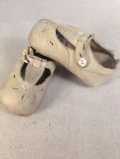 RARE Antique 1900s Child's Perforated Floral Spray Leather T-Strap Button Shoes