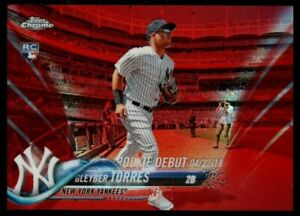 GLEYBER TORRES /25 YANKEES ROOKIE RED REFRACTOR RC SP 2018 TOPPS CHROME UPDATE