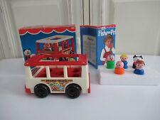 ☺ Ancien Mini Bus Véhicule Fisher Price 5 Personnages Vintage Authentique