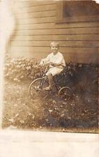 RPPC BOY ON BICYCLE TRICYCLE REAL PHOTO POSTCARD (c. 1910)